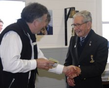 Group Leader Chris Leech presents Keith Stewart with his Honouary Calliope Scarf and Woggle.